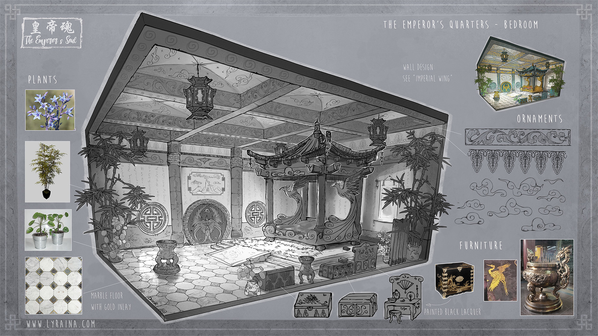 The imperial bedchamber. After his injury, The Emperor does not leave this place.