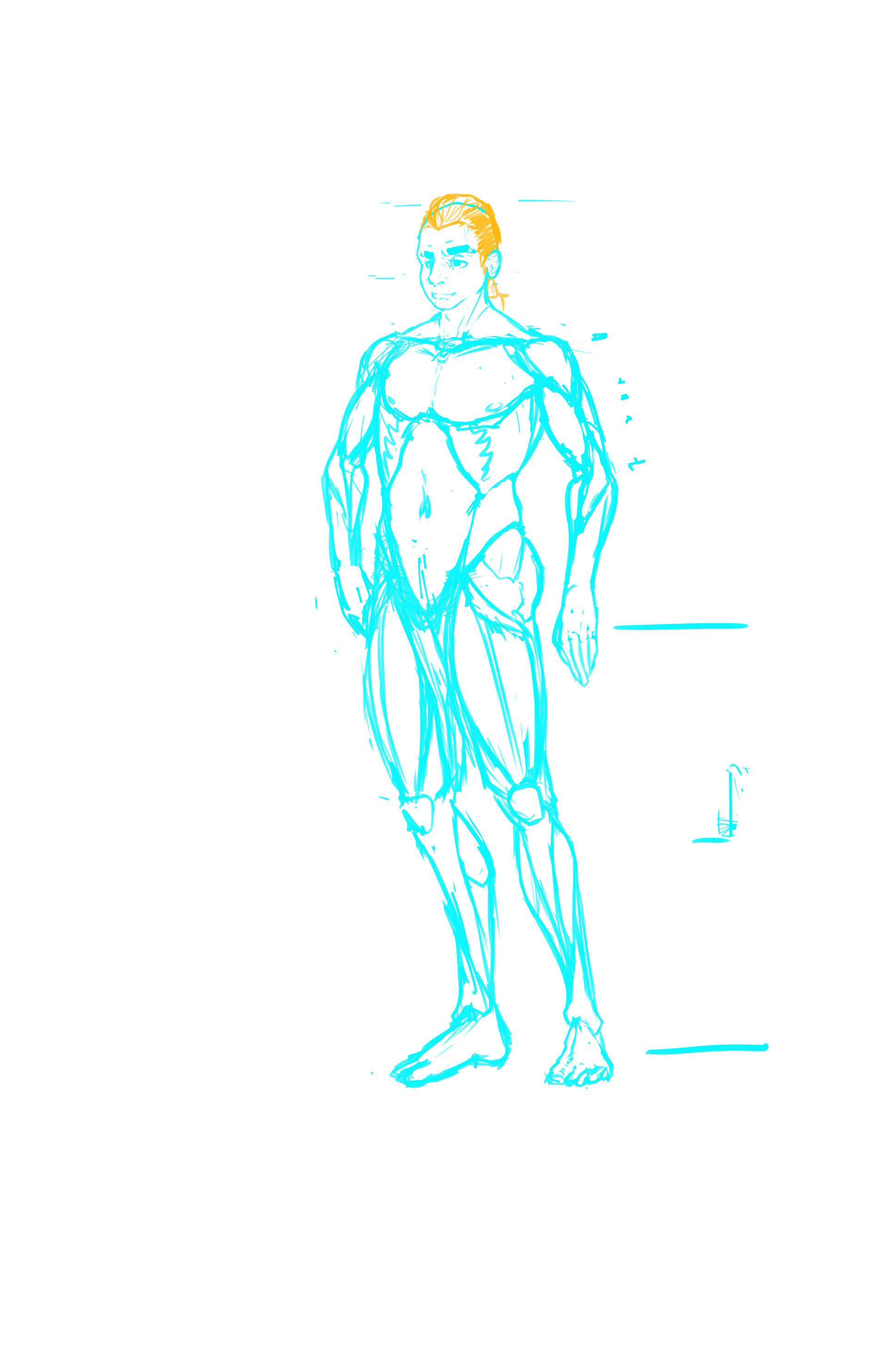 Conner hannin character design for comic idea sketch no clothes
