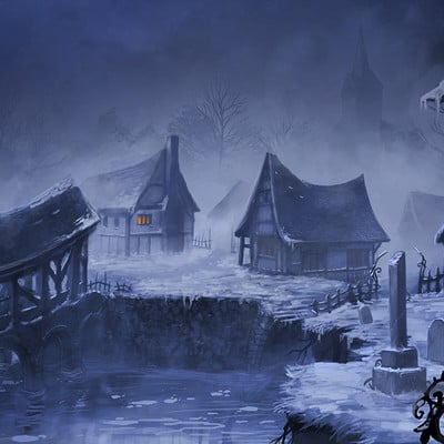 Emmanuel bouley painting village