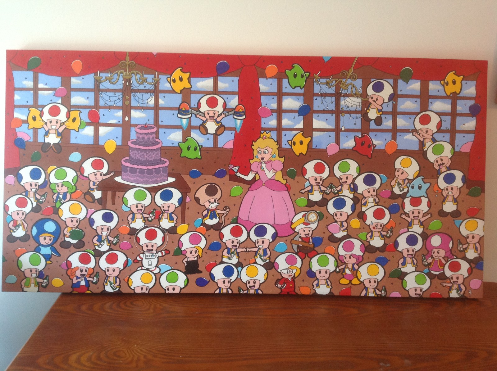 'Party in the Mushroom Kingdom' 24x48 canvas Status: Sold! (Requested)