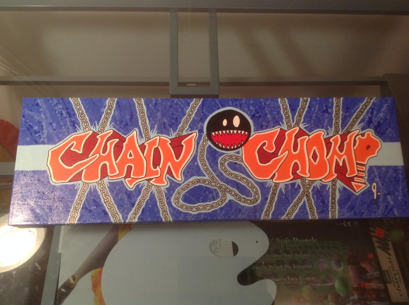 `Chain Chomp` 8 x 24 canvas Status: For sale
