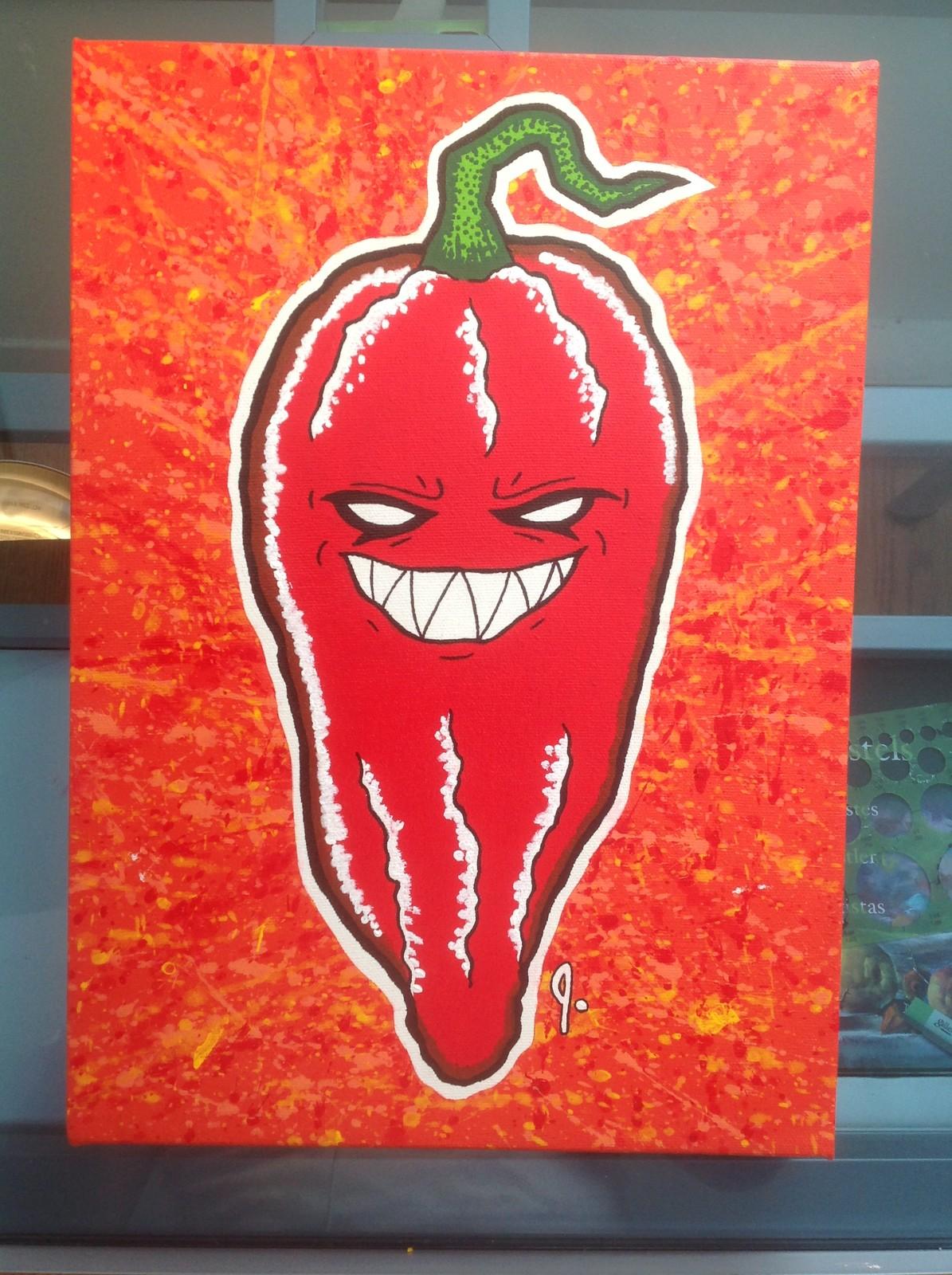 'Ghost Chili Pepper' 10 x 14 canvas Status: For sale