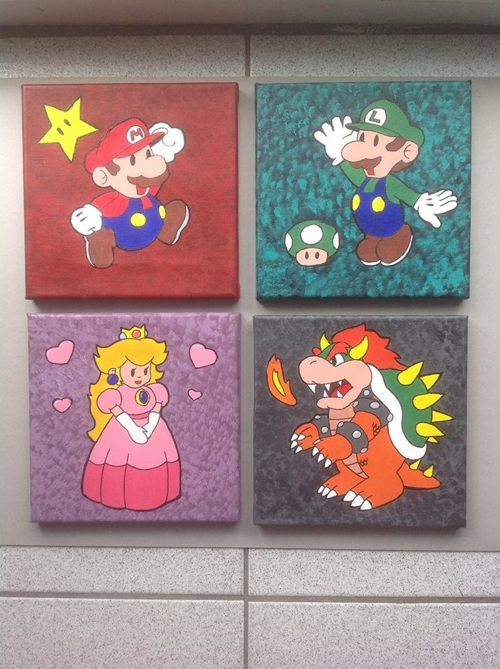 `Paper Mario` 8x8 canvases