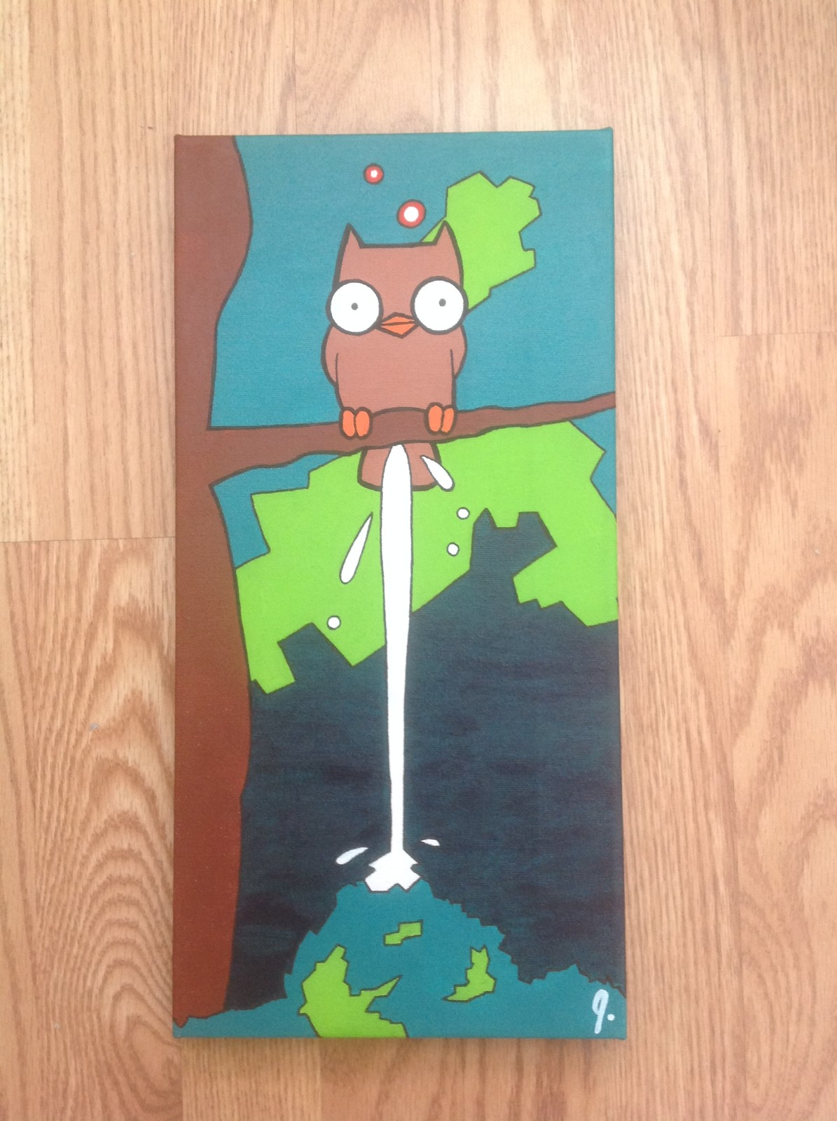 `Owl Poop`  8x16 canvas Status: Sold!