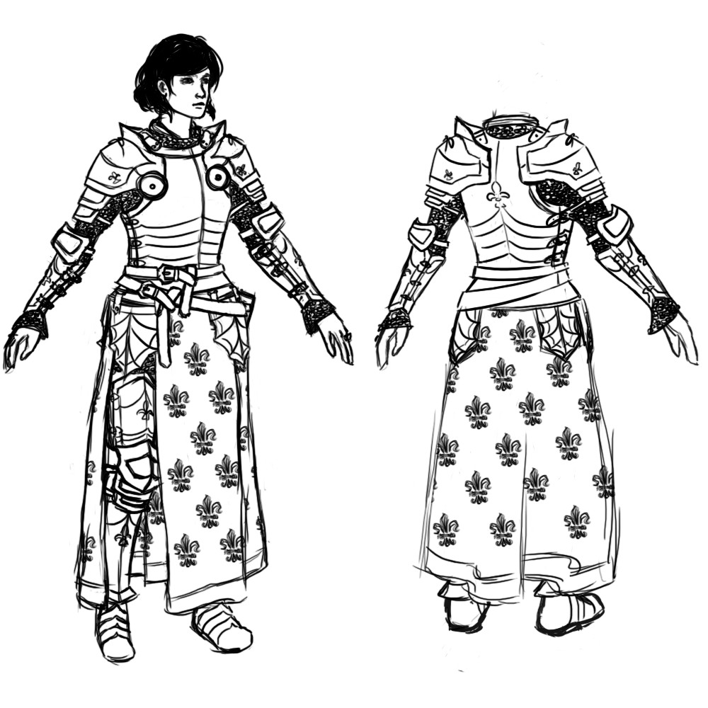 Armor iteration and added a split skirt that Jeanne d'Arc is often pictured with.