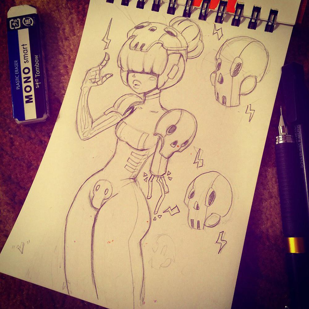 """Day 7 - Skull   Bad day & struggled making it ink-worthy. Hope my cyborg skullmancer """"V"""" will do."""