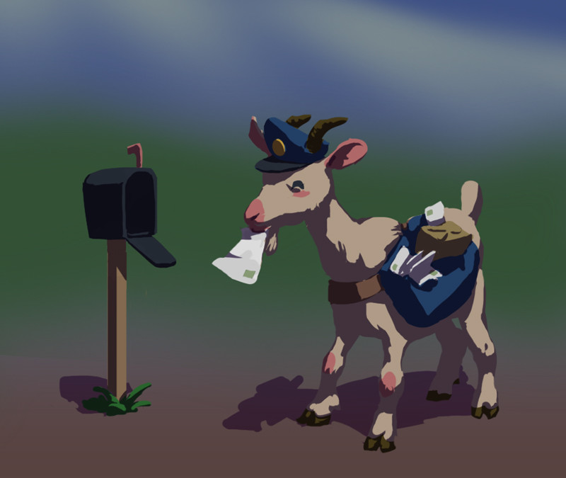 Meet mailgoat! I didn't know at the time, but he was about to go on an adventure~