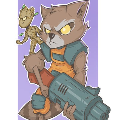 Dylan quinn rocket raccoon chibi digital