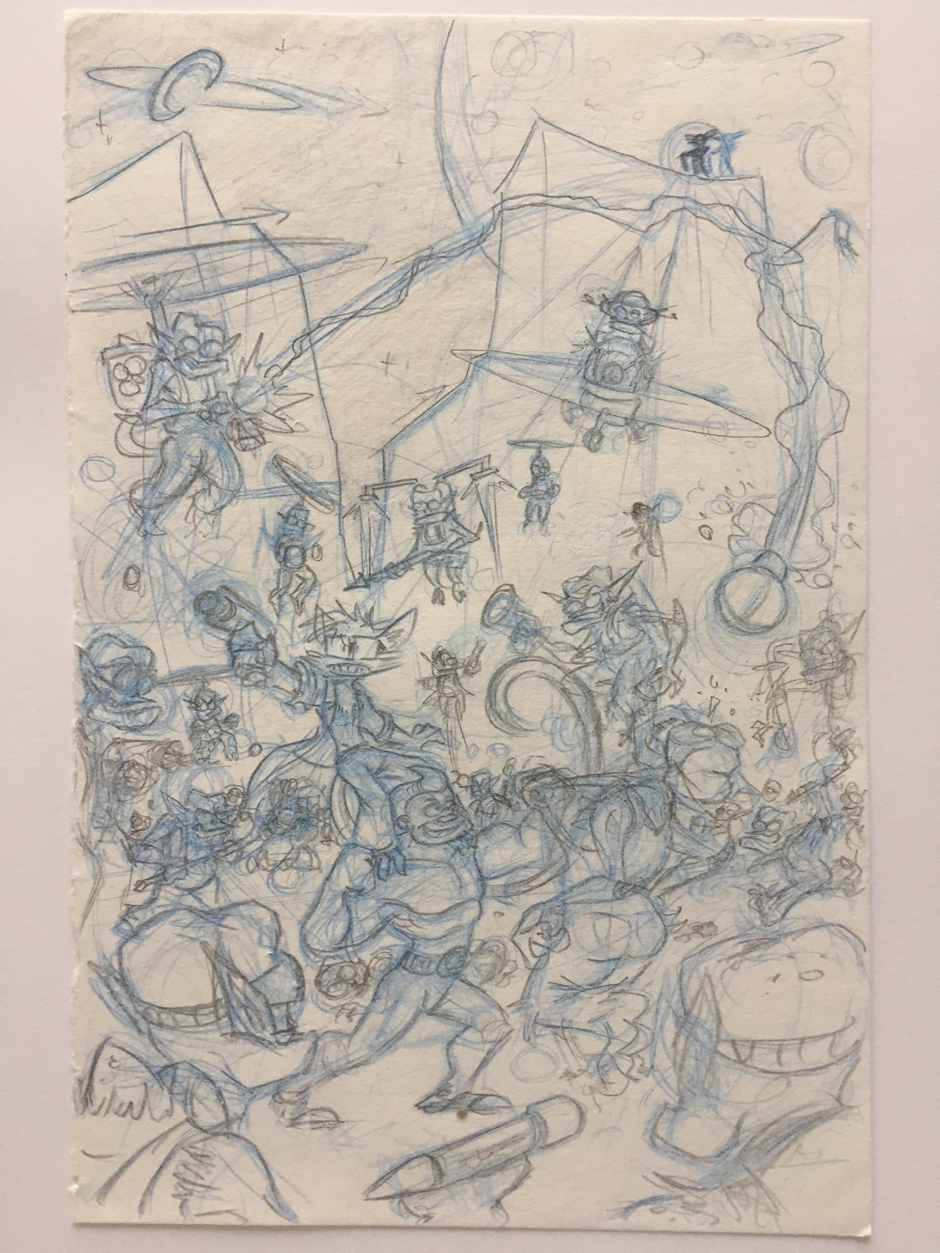 The original thumbnail, done on scrap paper with non-photo blue and no.2 pencils.