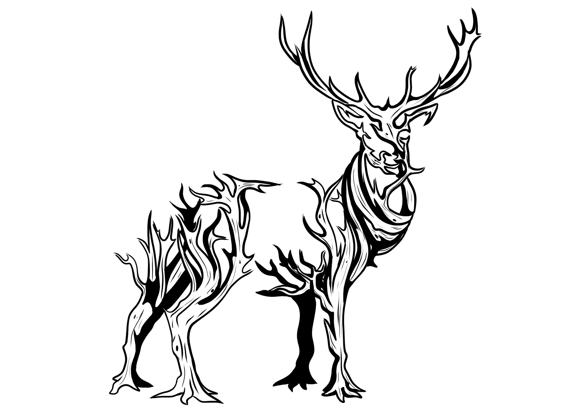 Deer made from a growing tree