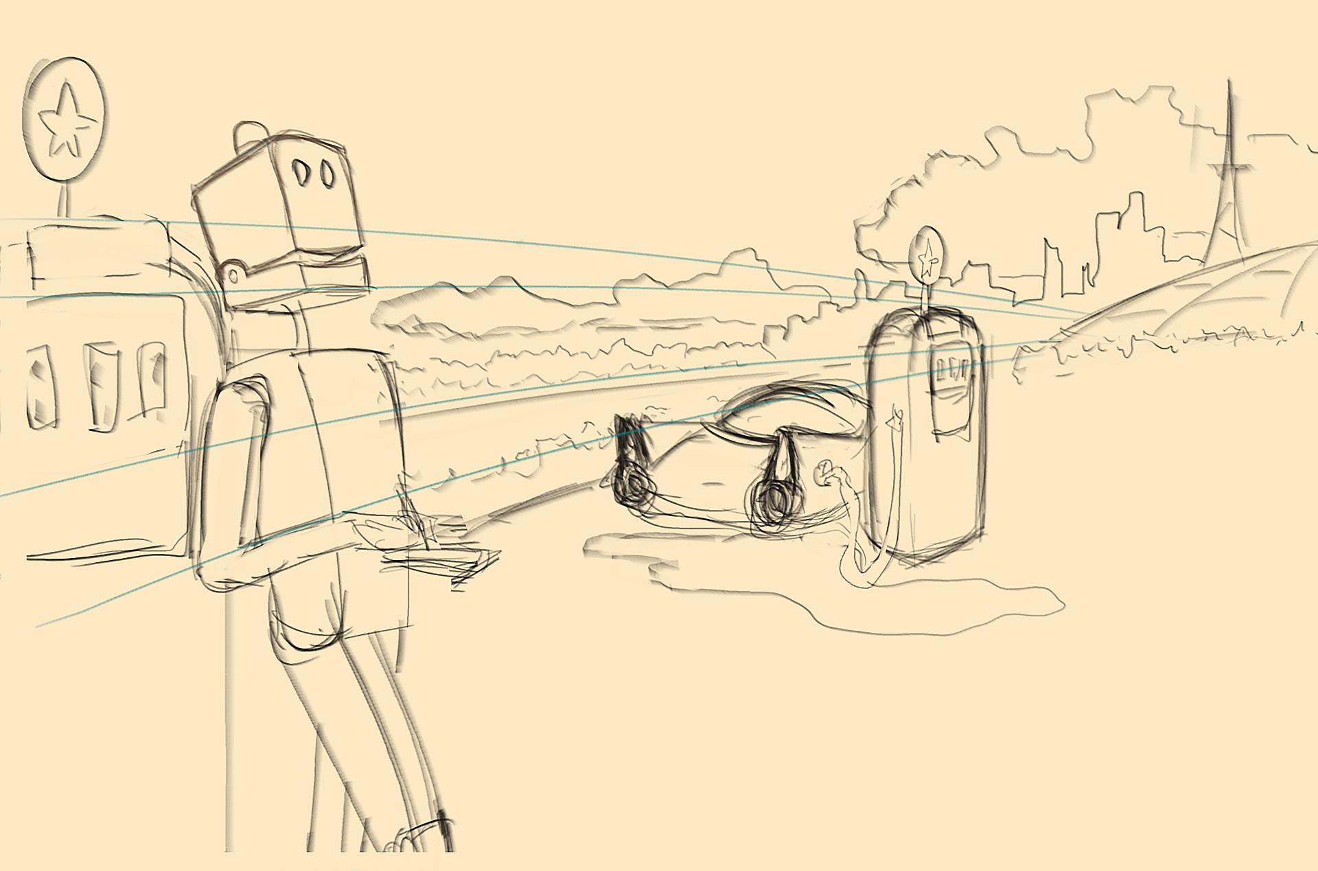 Dmytro bidnyak robot poet initial sketch