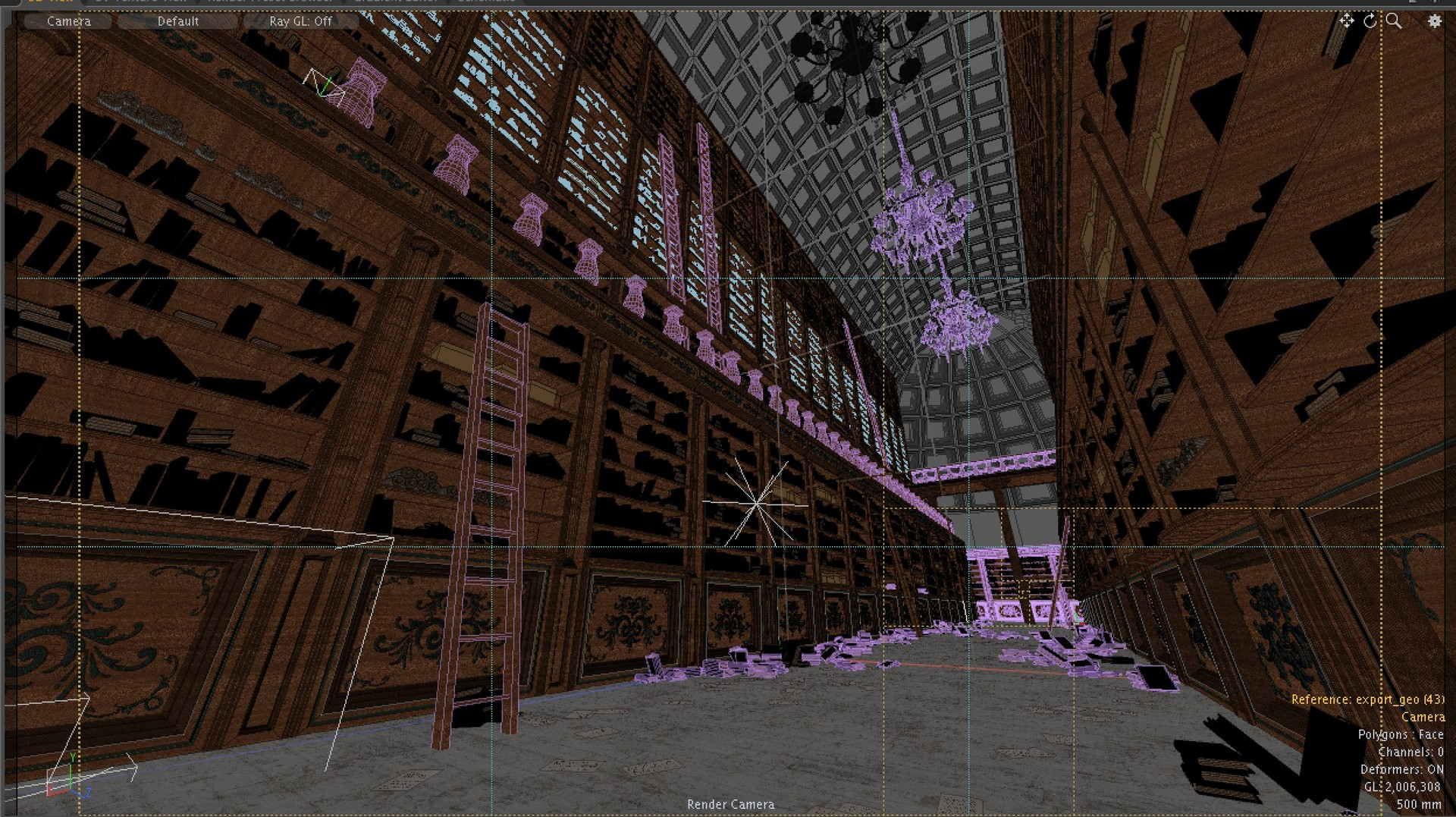 Wireframe in Modo. Note that all the books are replicated (instance) objects as well as the bookshelves.