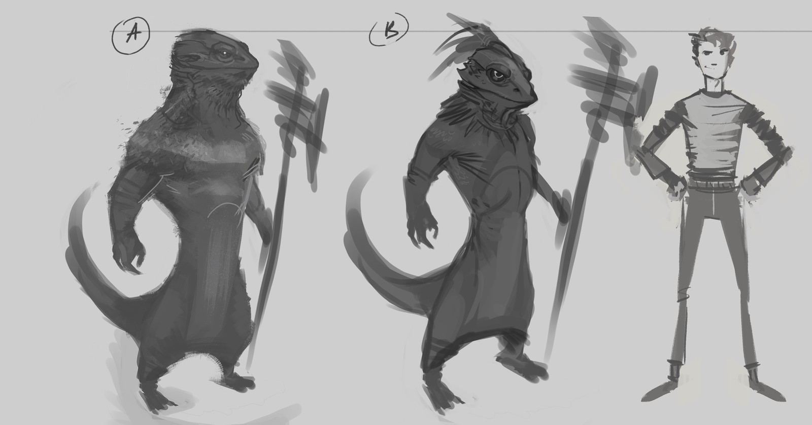 Early stages, size comparison to main character. Lizard dude is my favourite from what I've concepted, I was influenced by the bearded dragon lizard.