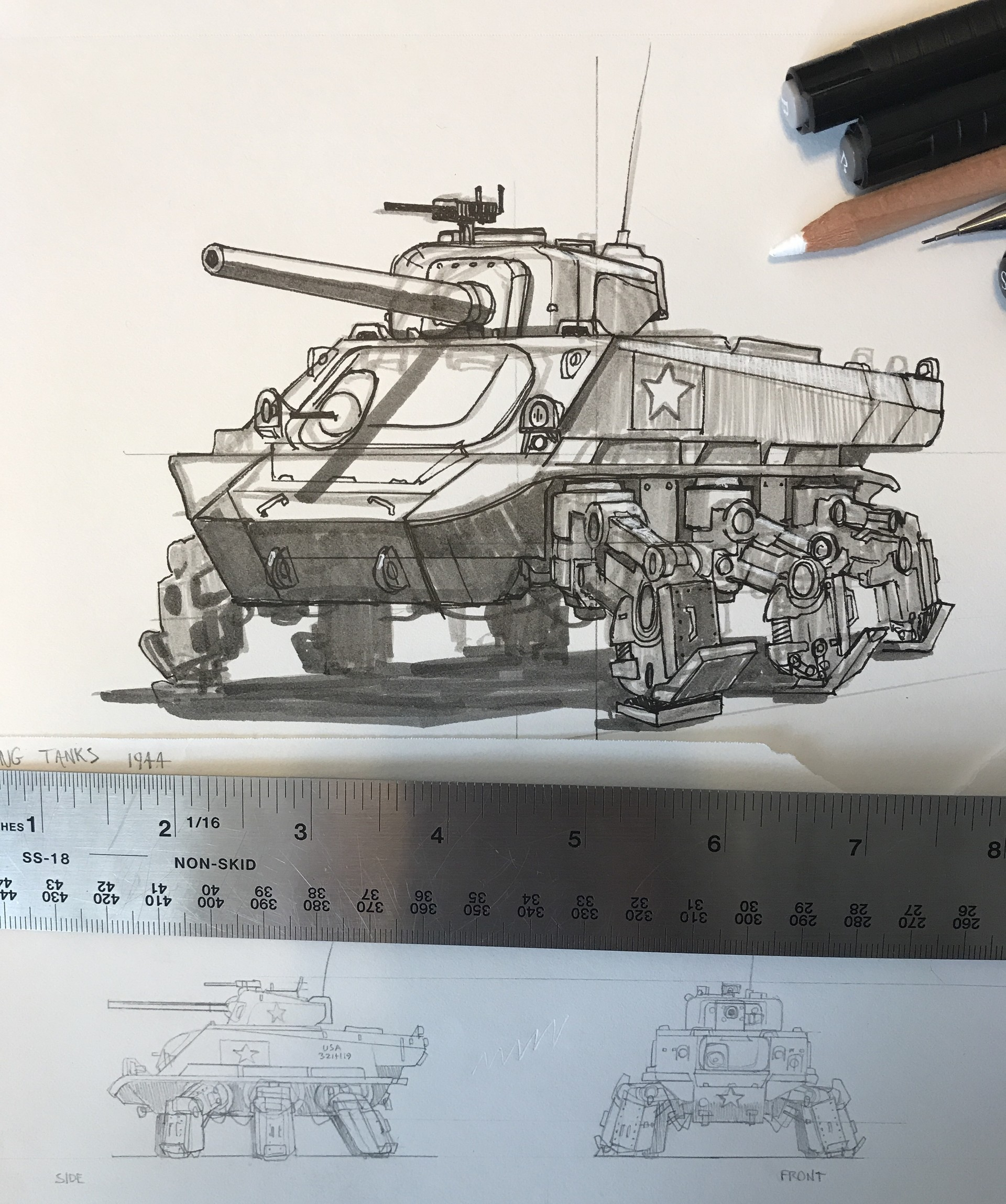 The early pencil sketches