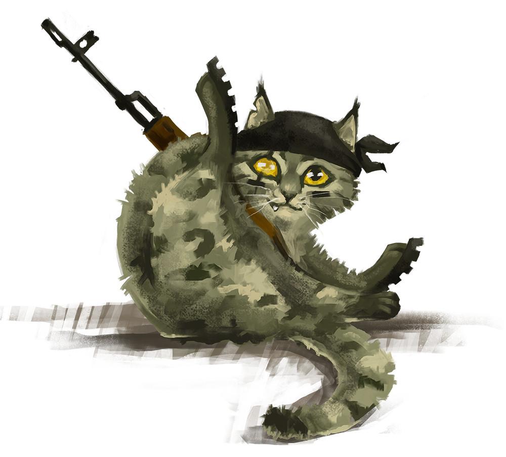 Картинка кота в военной форме