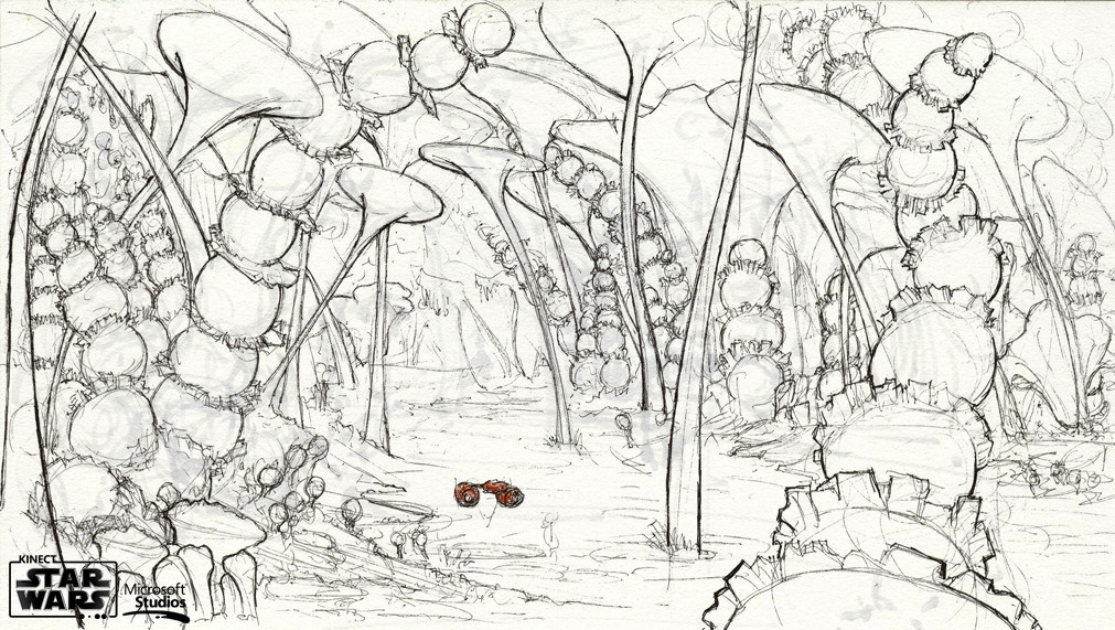 An ink Concept of a pod racing through the jungle of Felucia