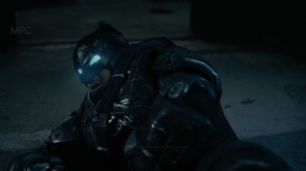 Responsible for Batman Look Development and Shot Lighting.  Full CG Batman except face and helmet in this shot.