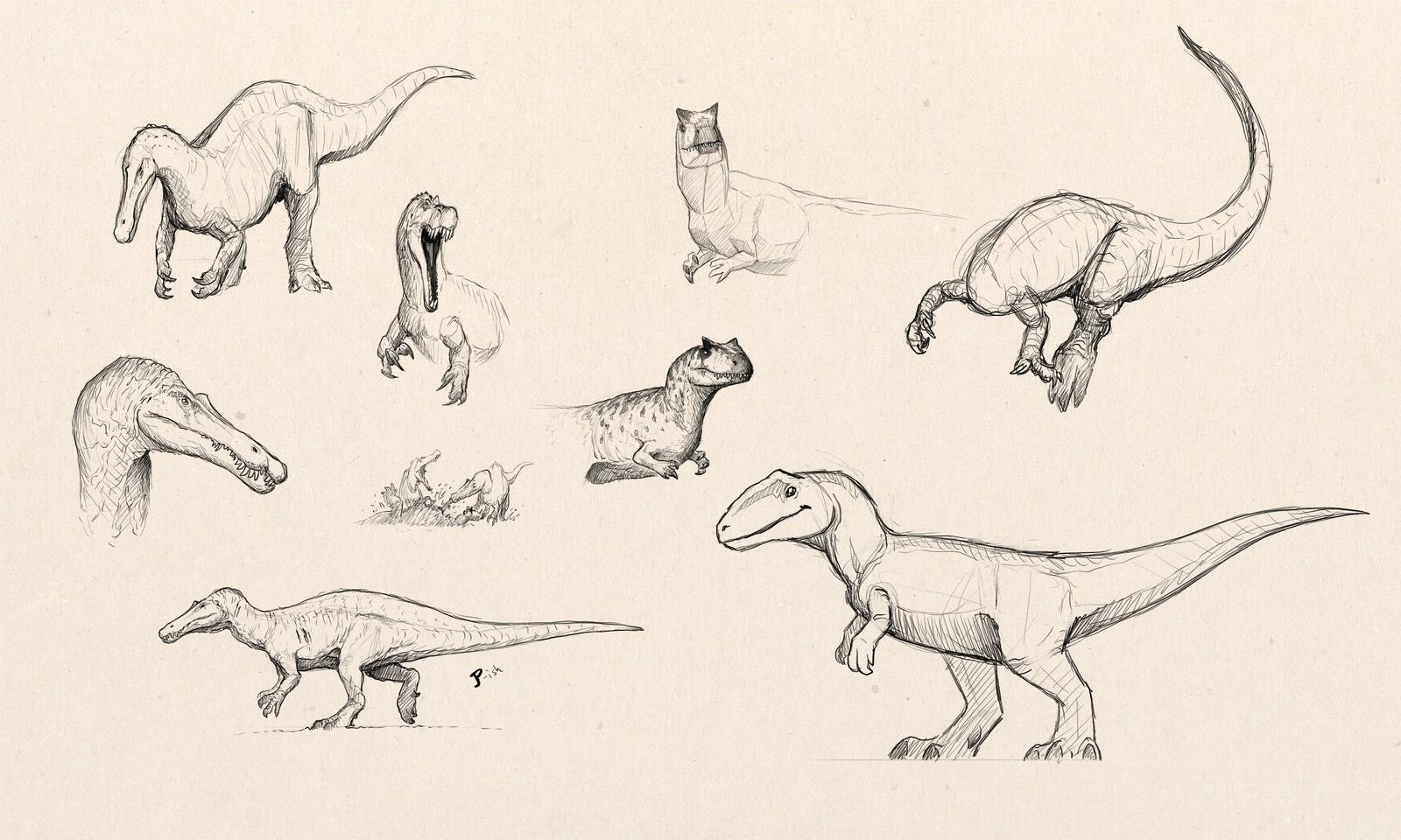 Suchomimus, JPOG's Allosaurus, and a cartoonish Carcharodontosaurus
