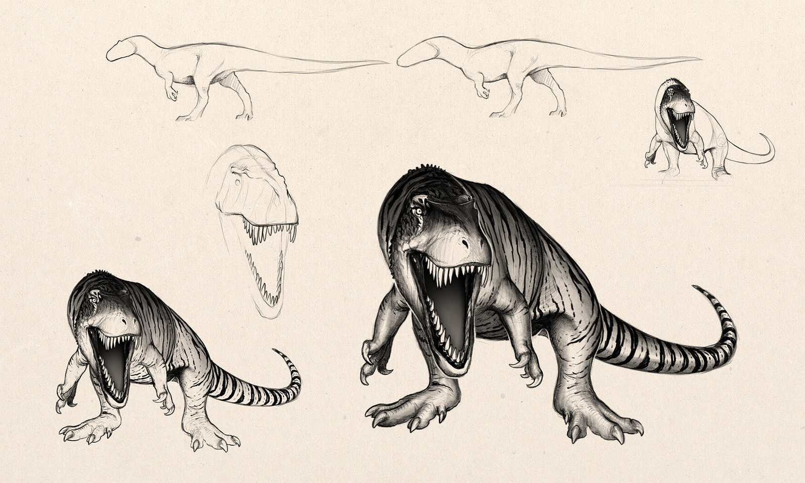Torvosaurus styled in a very defensive Tiger-like manner, stripes and all.