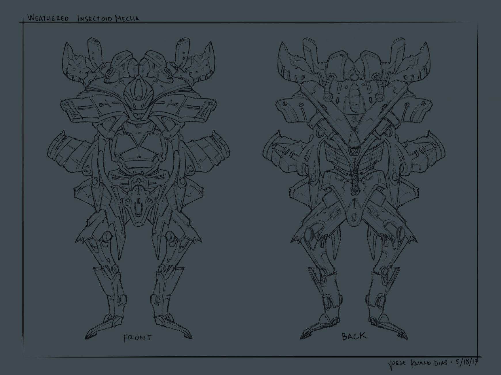 Jorge dias insectoid weathered mecha lineart