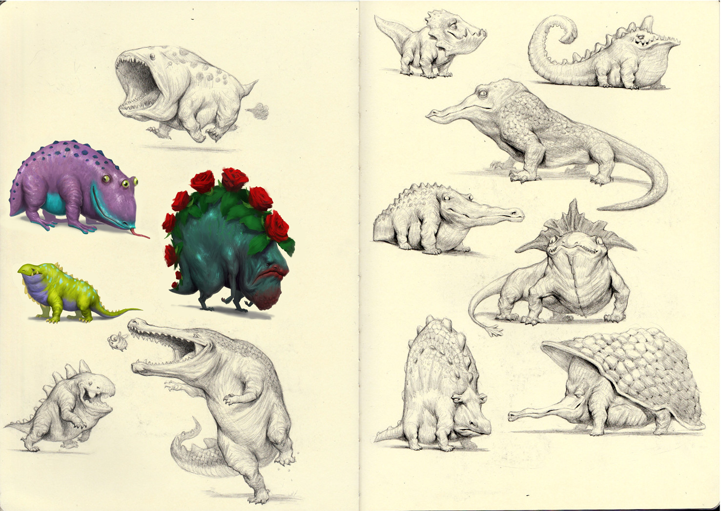 Creature Sketchbook pg 11-12