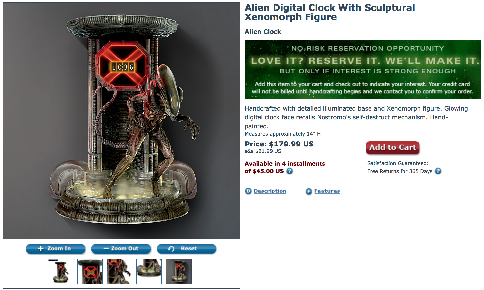 Product Page for Final Clock  http://www.bradfordexchange.com/products/126085001_alien-digital-clock-with-xenomorph-figure.html
