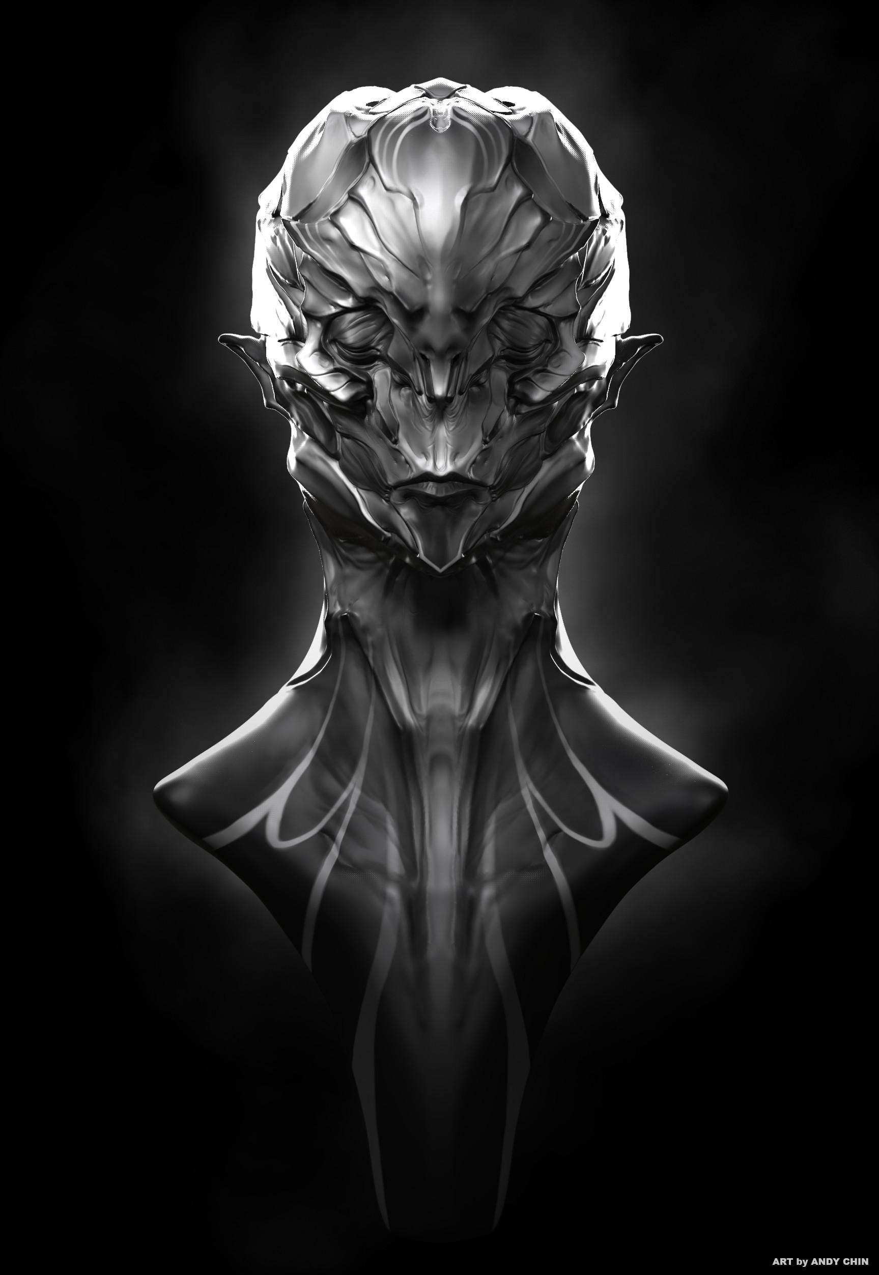 Andy chin skull elf bw