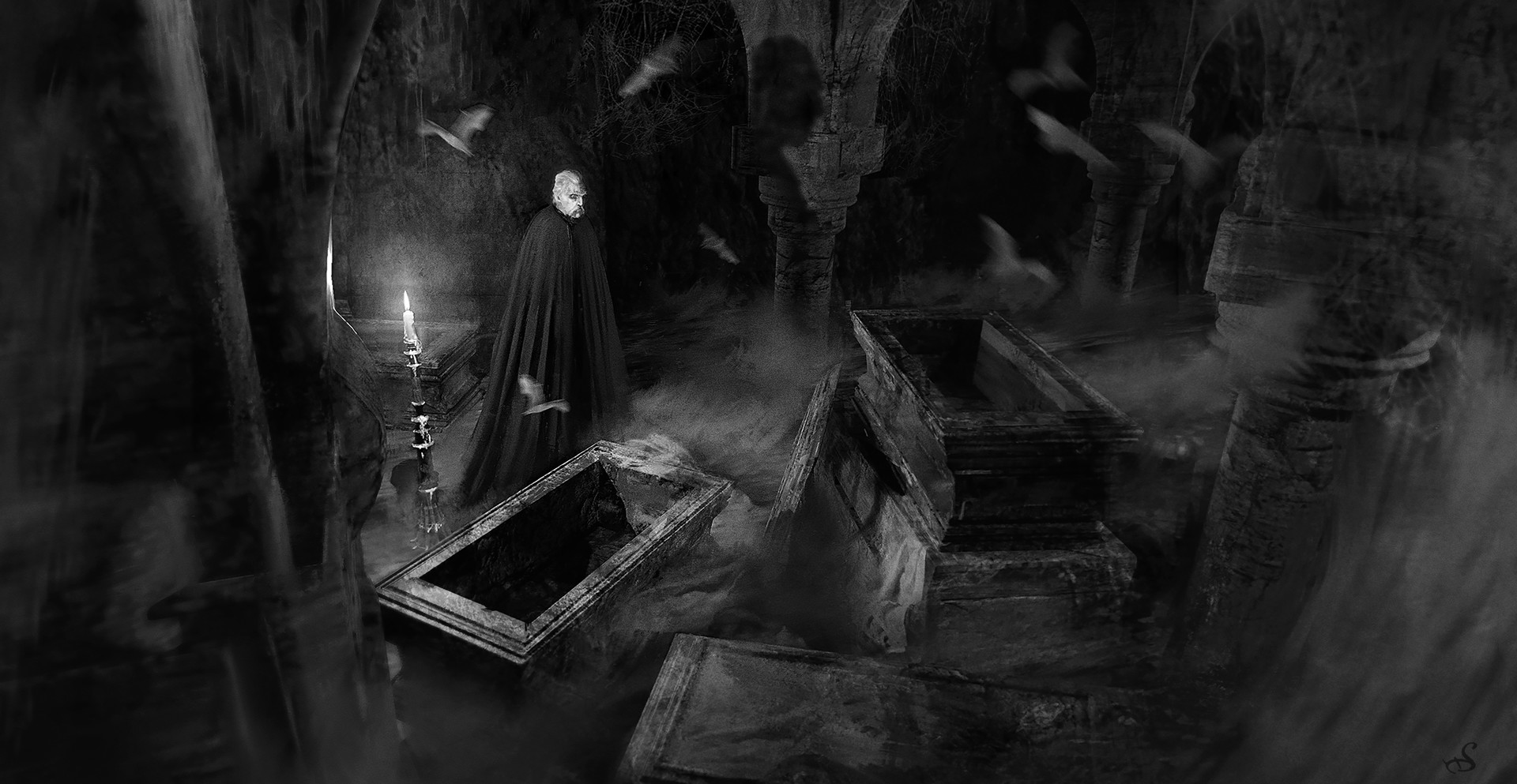 Sebastien ecosse dracula crypt vampire sebastien ecosse illustration tomb b w 300dpi bonordre
