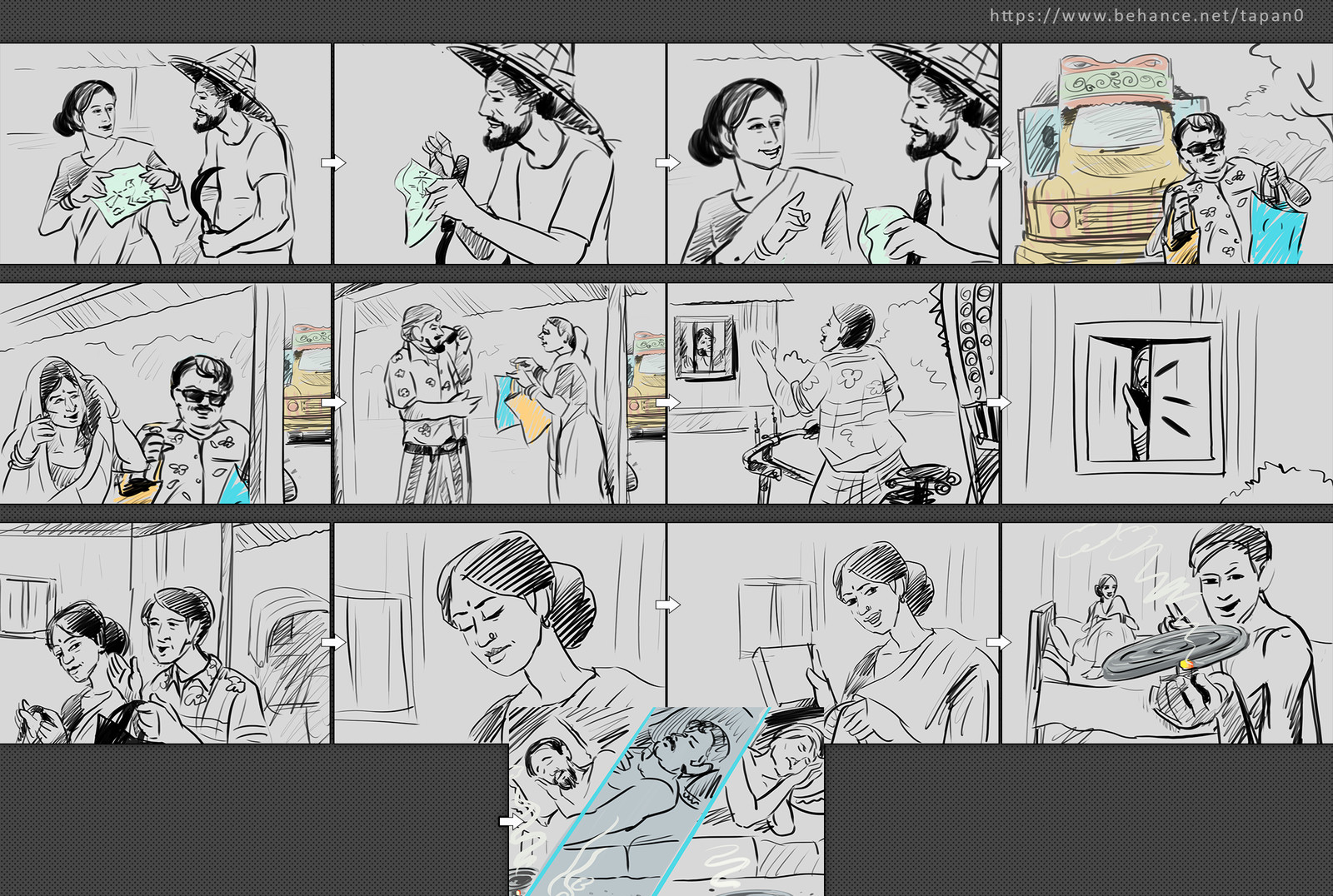 Storyboard sketch for TVC, Commissioned by Expressions Ltd.
