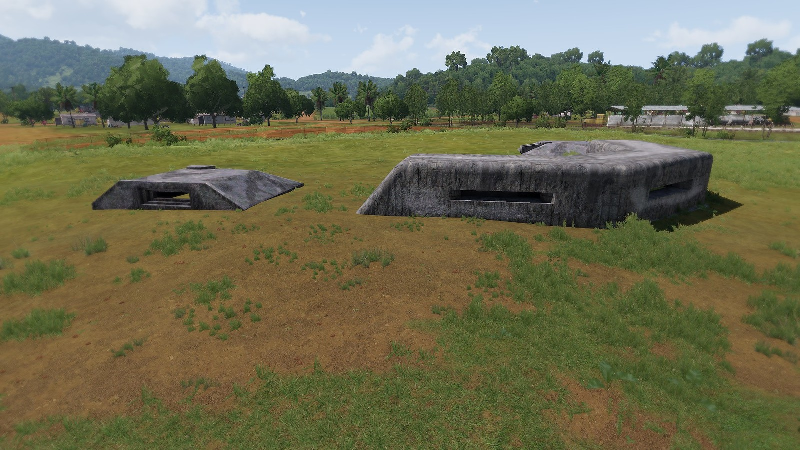 C-Shaped bunker with adjacent submerged Bunker