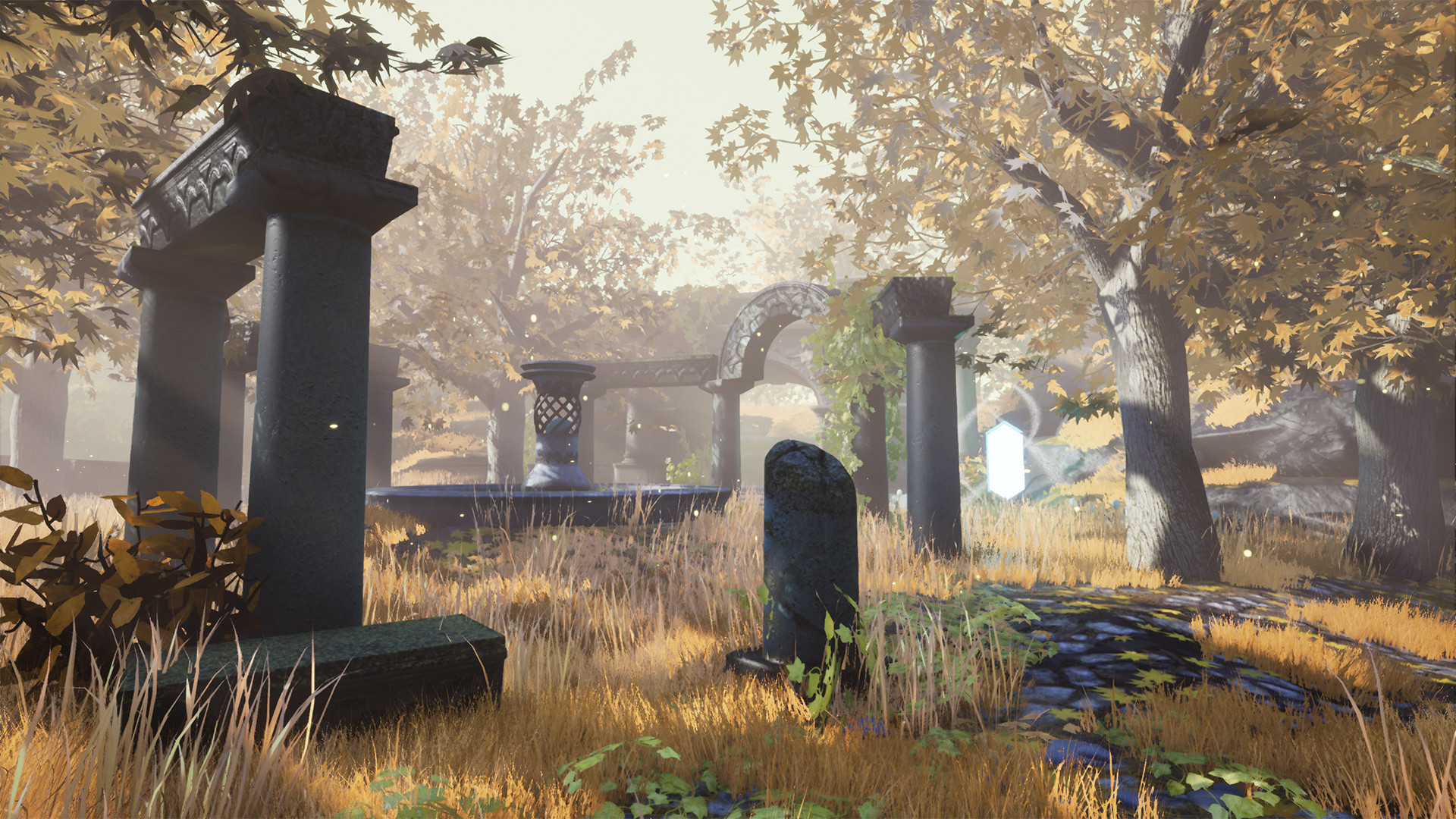 The ground is actually a landscape created in Unreal 4. Landscapes struggle with shadow resolution so I ended up using some shadow decals for the trees to cast sharp leaf shadows.