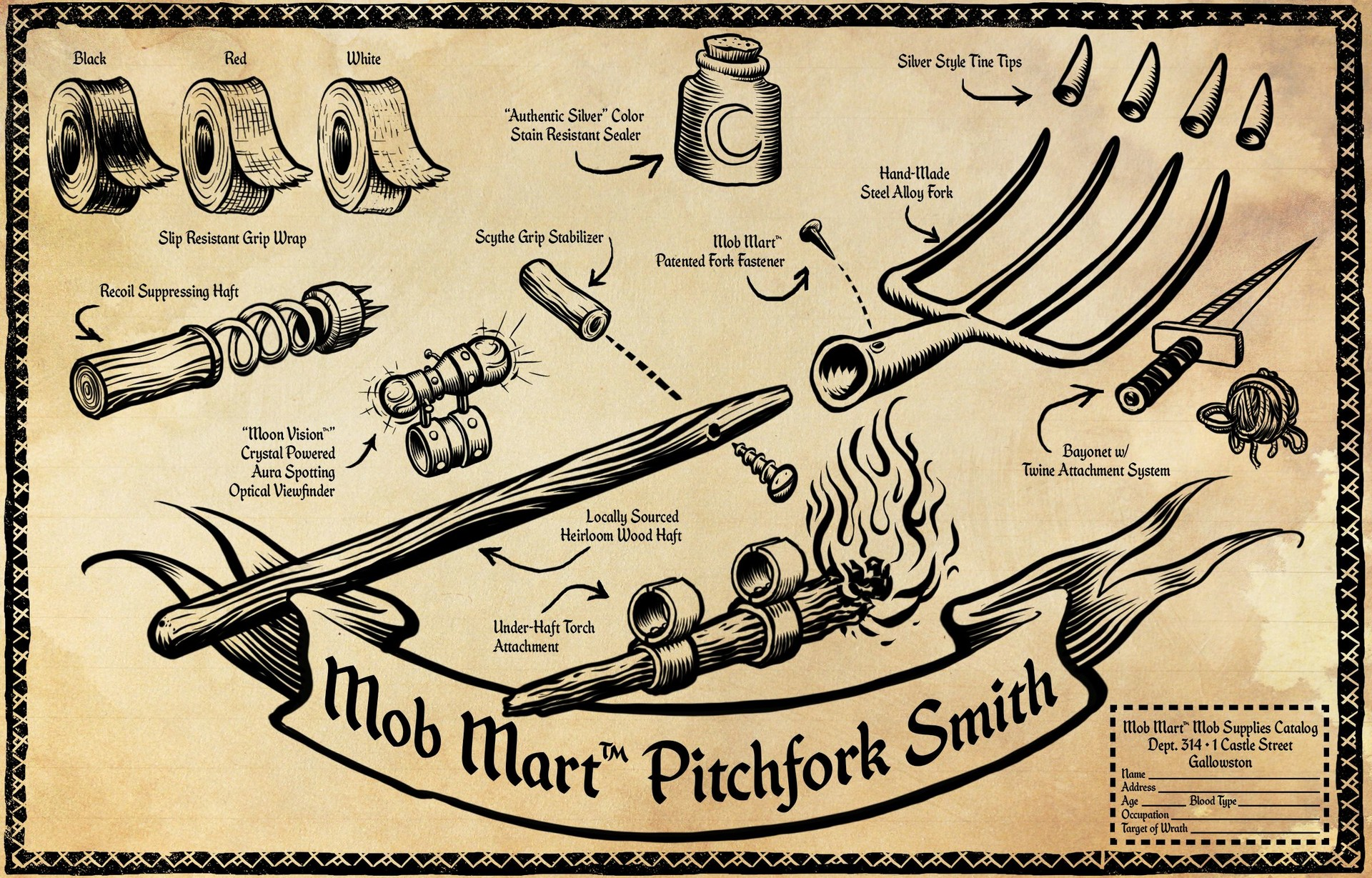 Pitchfork Smith - Mock catalog advertisement for Werewolves Within lore
