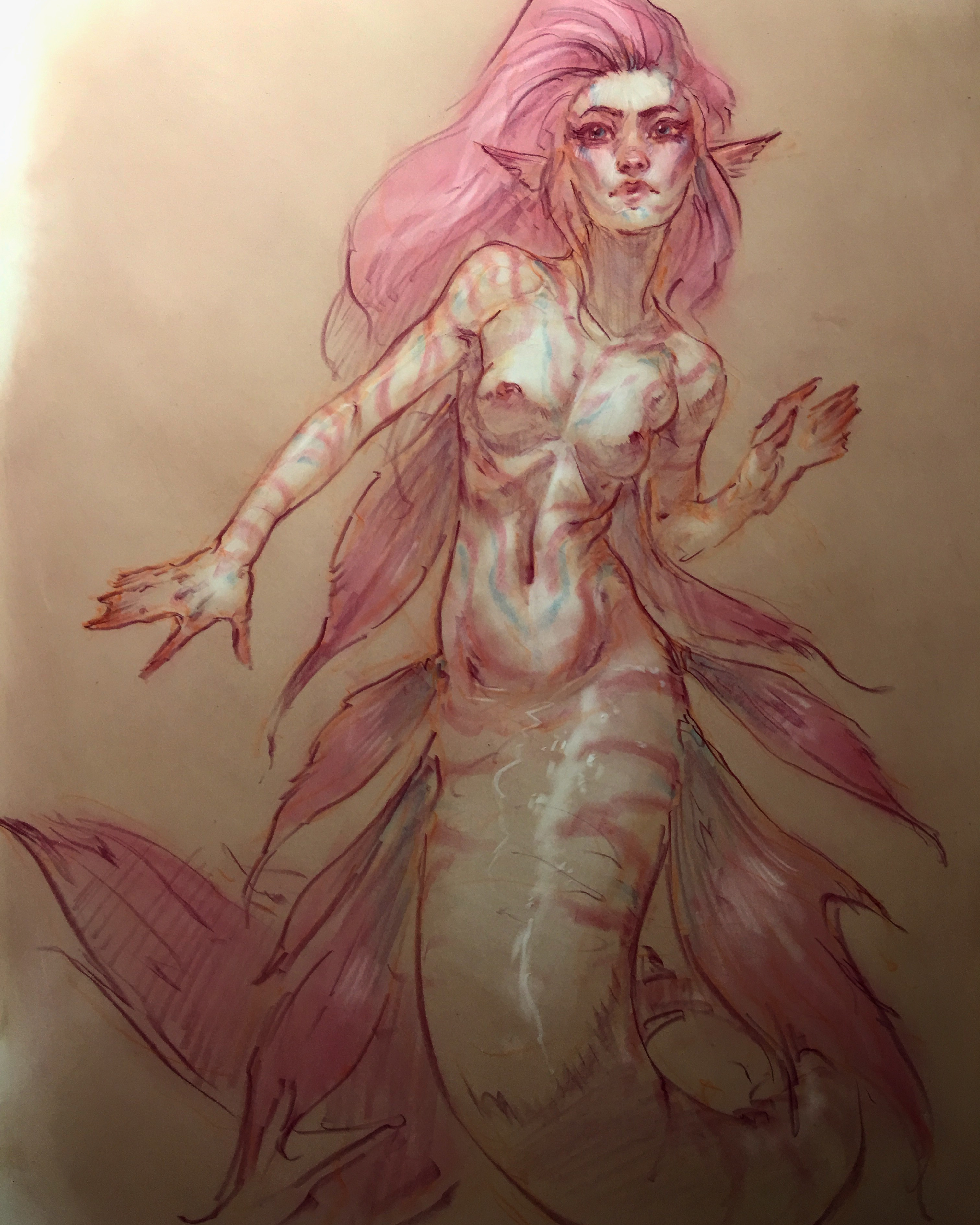 More MerMay! Prismacolor pencils on Dura-lene acetate.