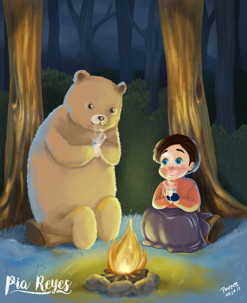 artstation - hot coco with bear, pia reyes