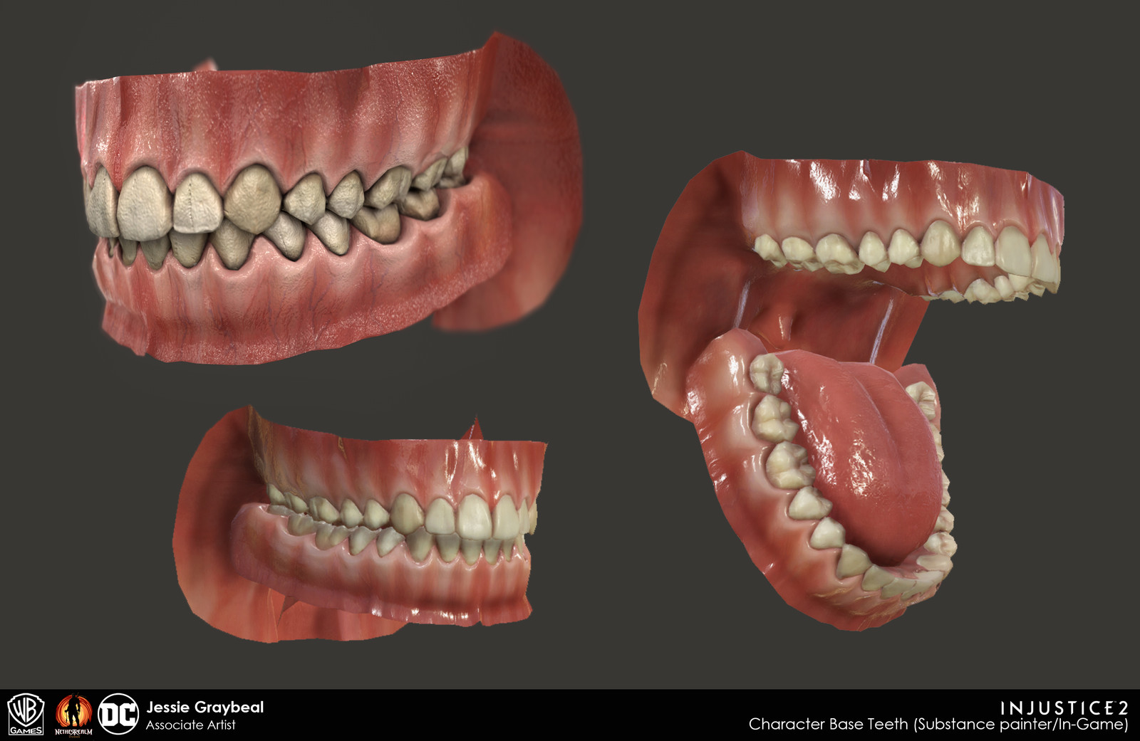 Substance Painter (Top left) and realtime in-engine base teeth/tongue.