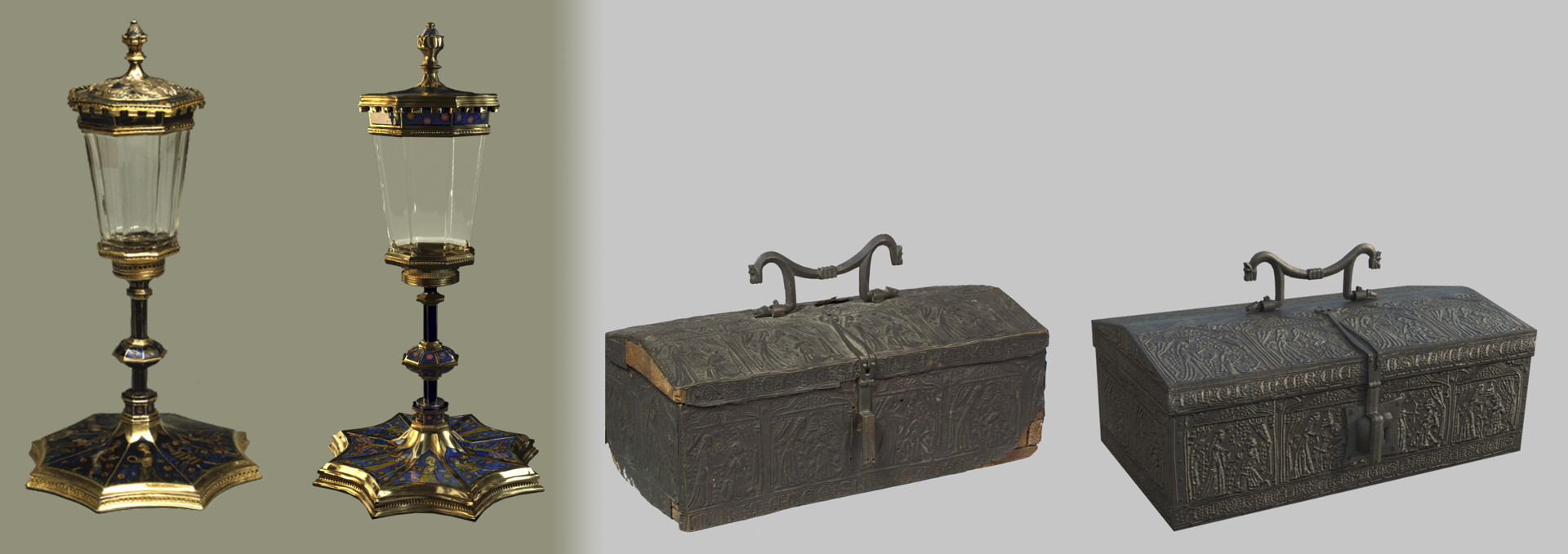 "Both medieval objects with their reference. In the case of the metal-chest, damaged areas were ""repaired"" according to reference and techniques of the time."