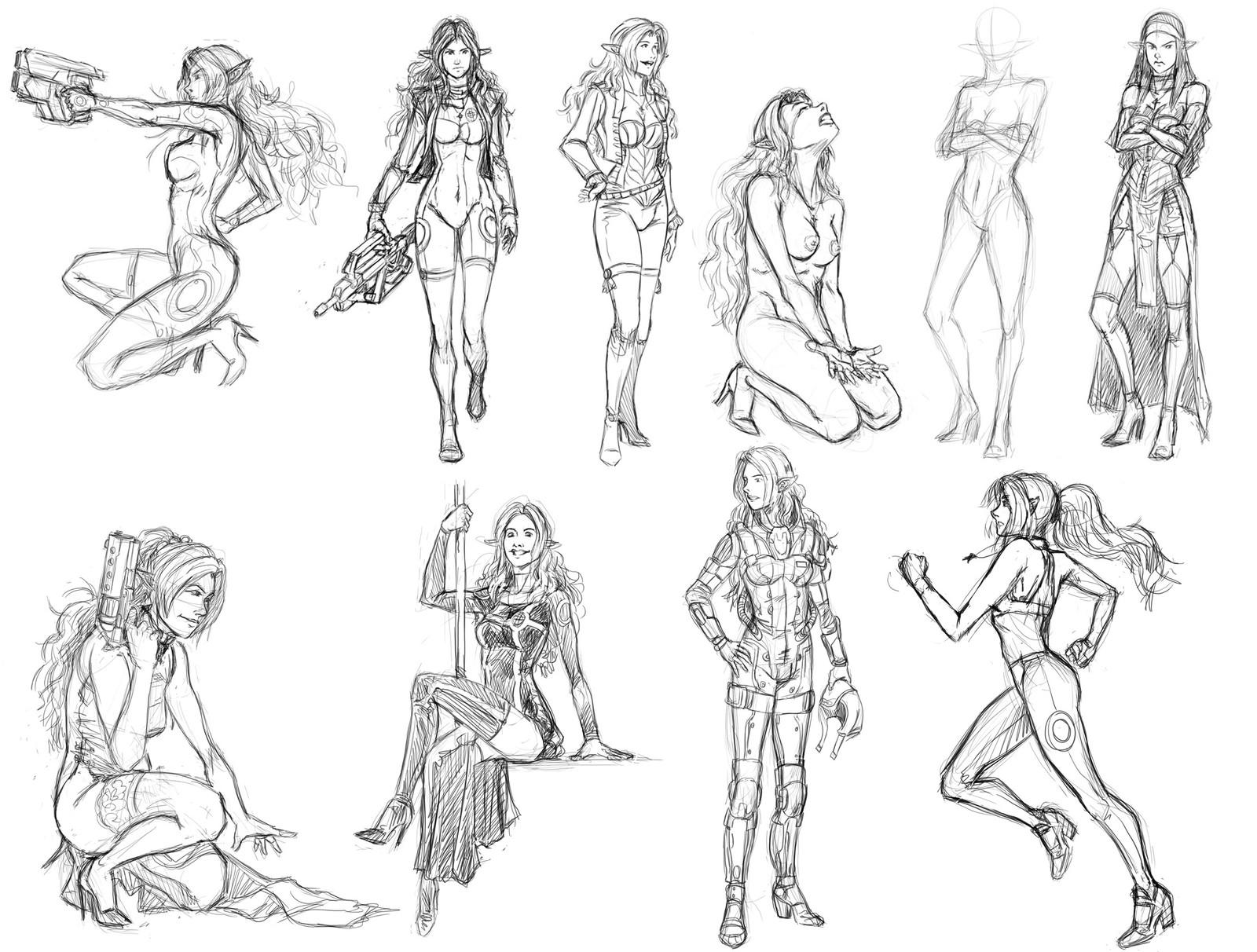 characters & anatomy & postures studies