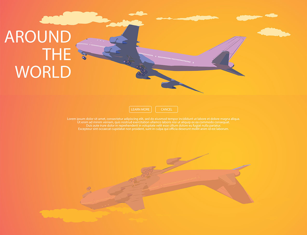 Vladimir Ivanov Web Page For Travel Agency With Orange Background And Plane