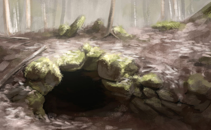 Aokigahara cave, from photo reference