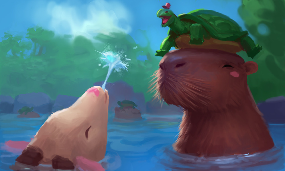 A day off, splashing around with Capybara and friends~