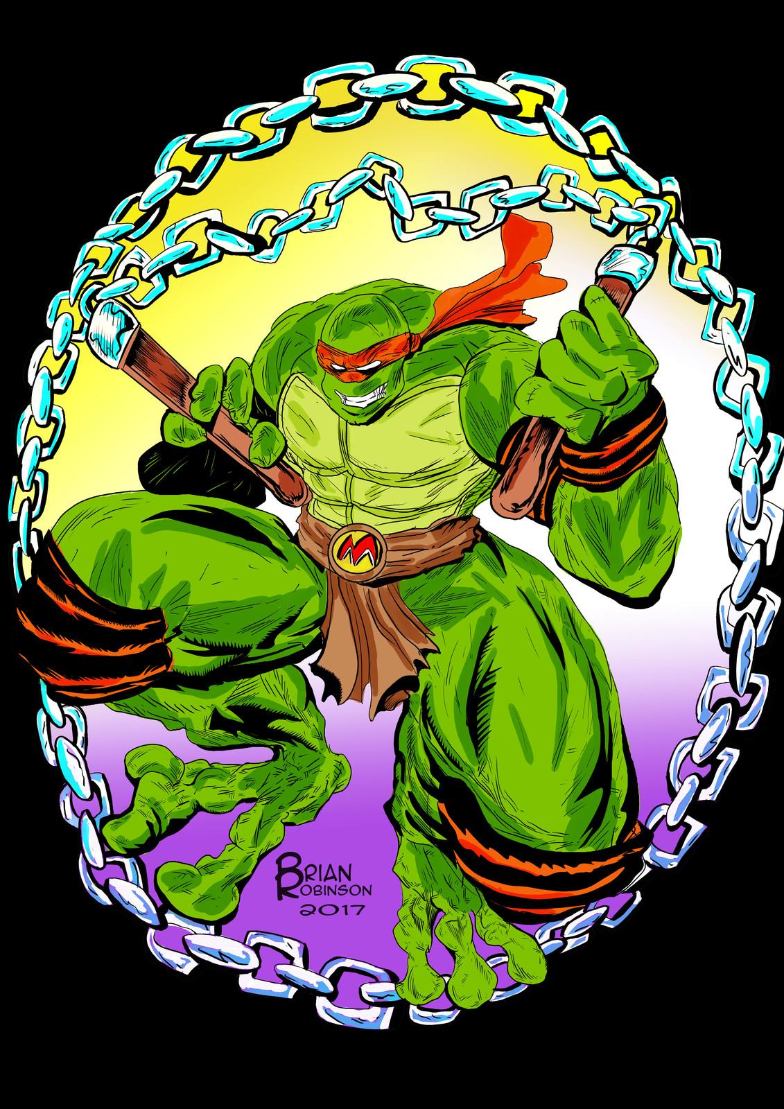 Teenage Mutant Ninja Turtles:Michelangelo drawing color by Brian Robinson