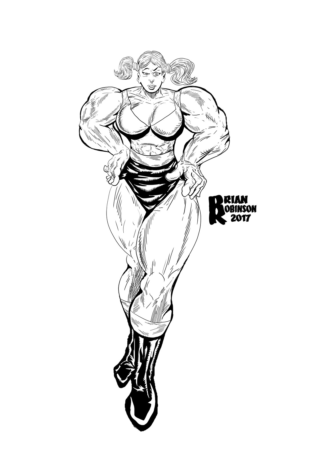 She-Hulk in pigtails drawing pinup By Brian Robinson