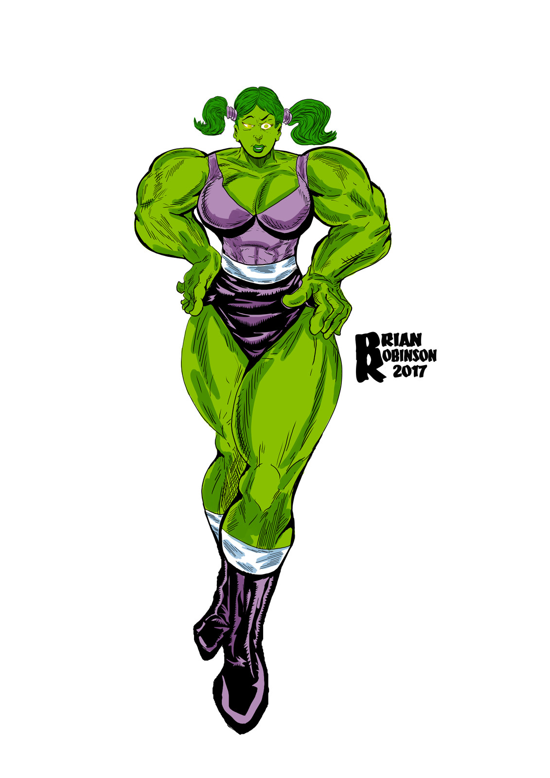 She-Hulk in pigtails drawing pinup color by Brian Robinson