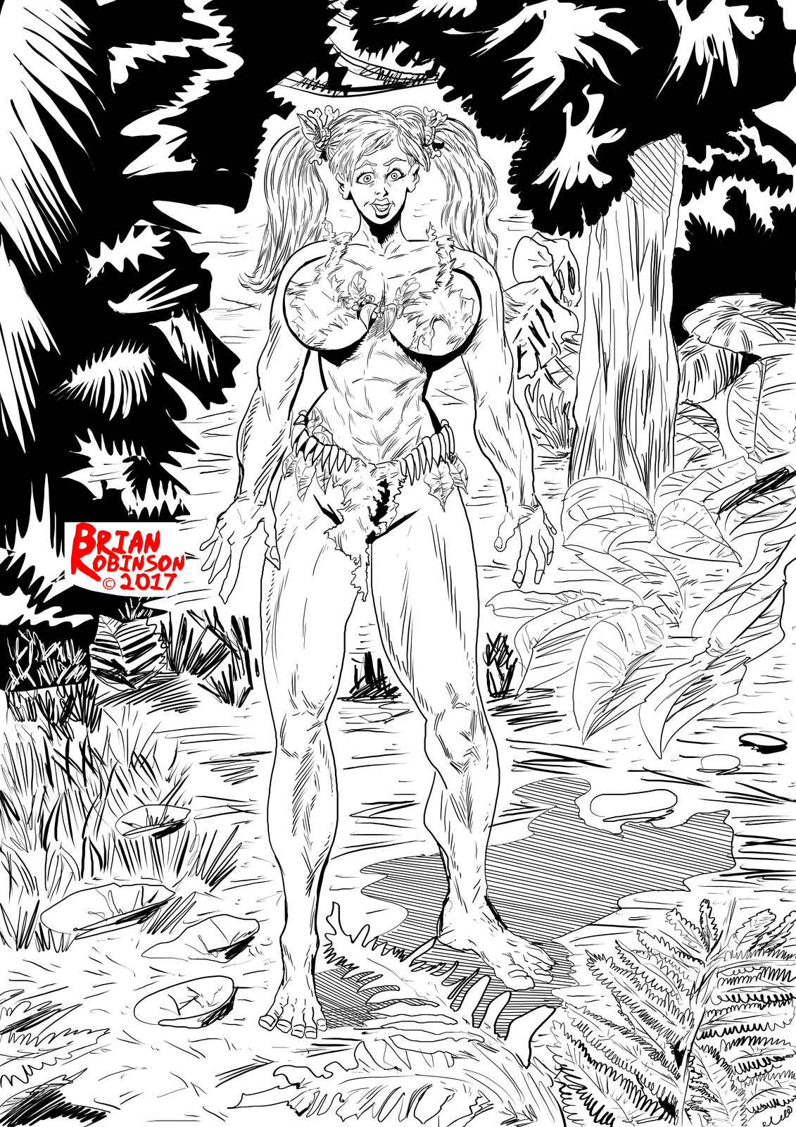 Jungle woman in jungle drawing pinup