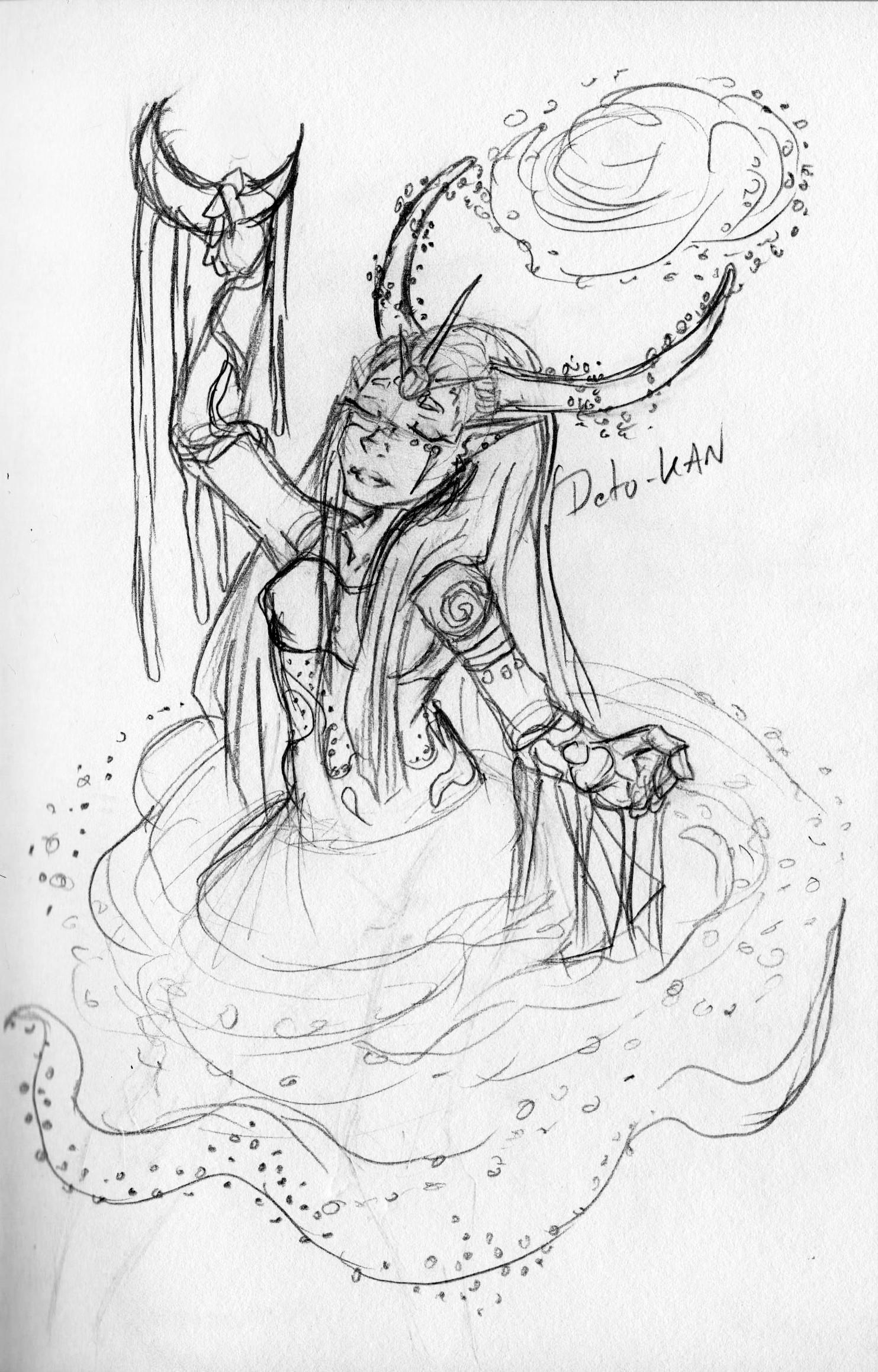 Detonya kan goddess galaxy initial sketch