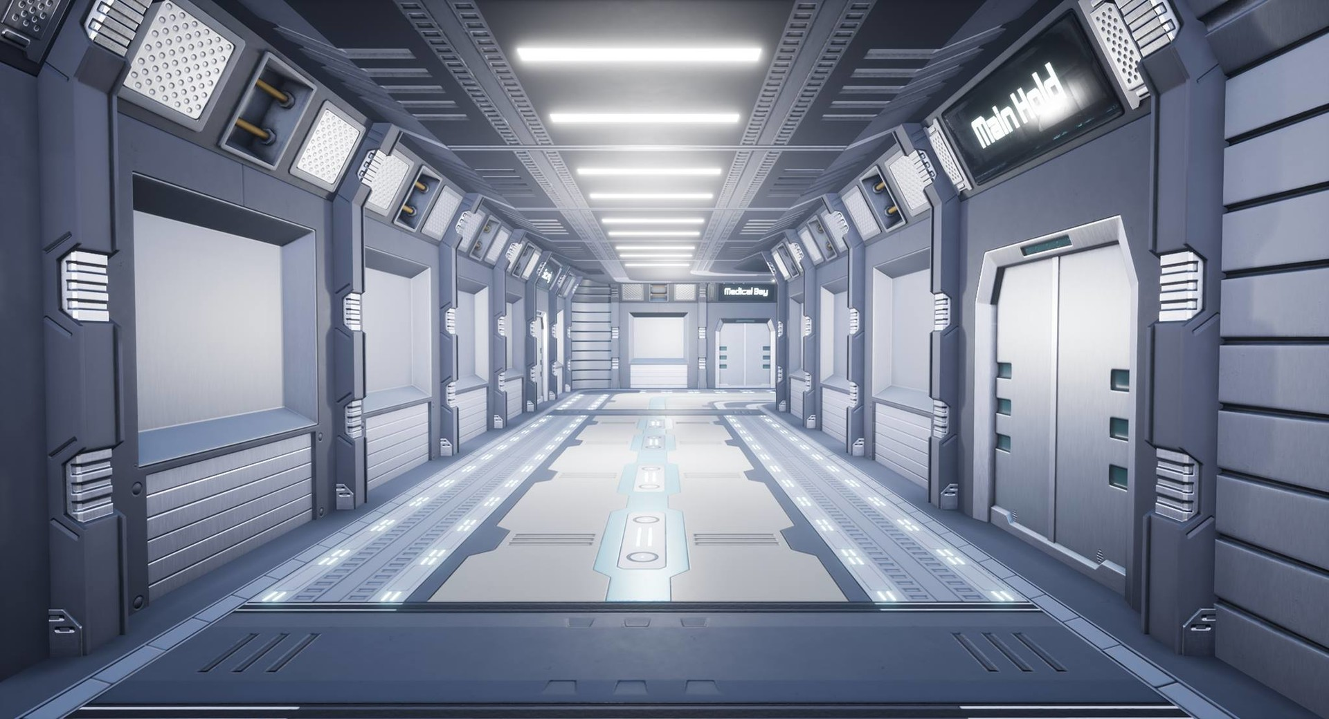 Sci Fi hallway long view