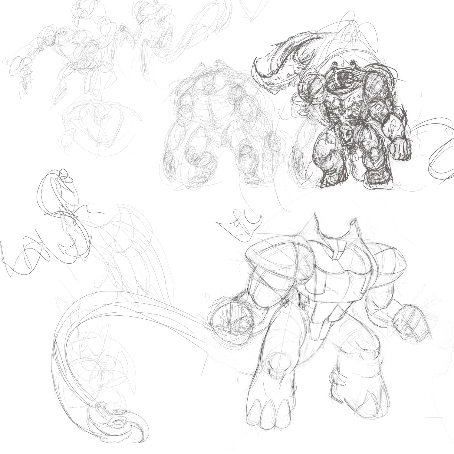 I sketched some more ideas until I came up with a strong looking monster.