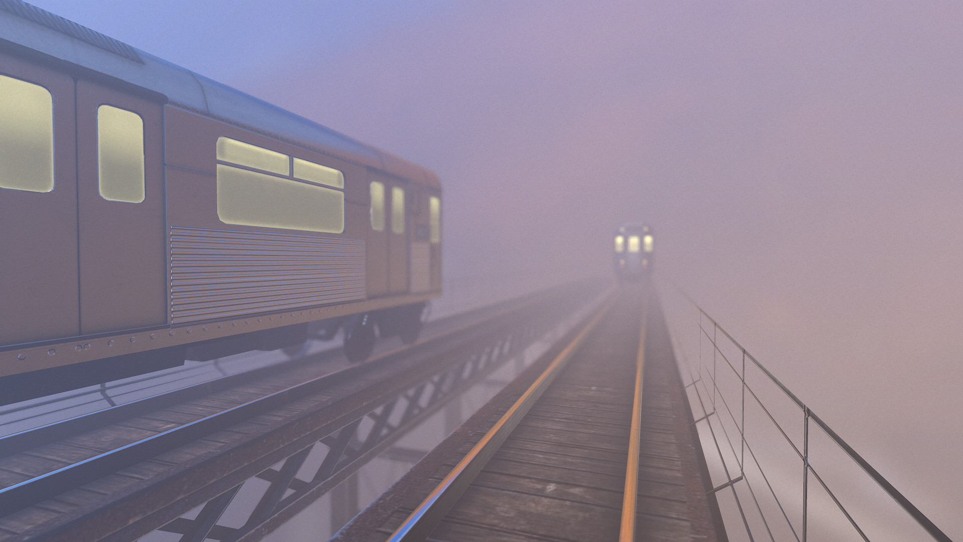 A render done in Marmoset Toolbag. The fog gives a very nice effect on the lights of the trains.