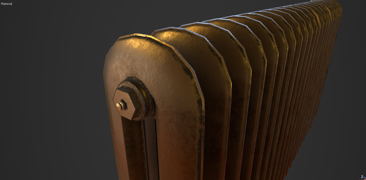 An older bare version of the radiator, this one was not rough enough to resemble cast iron.