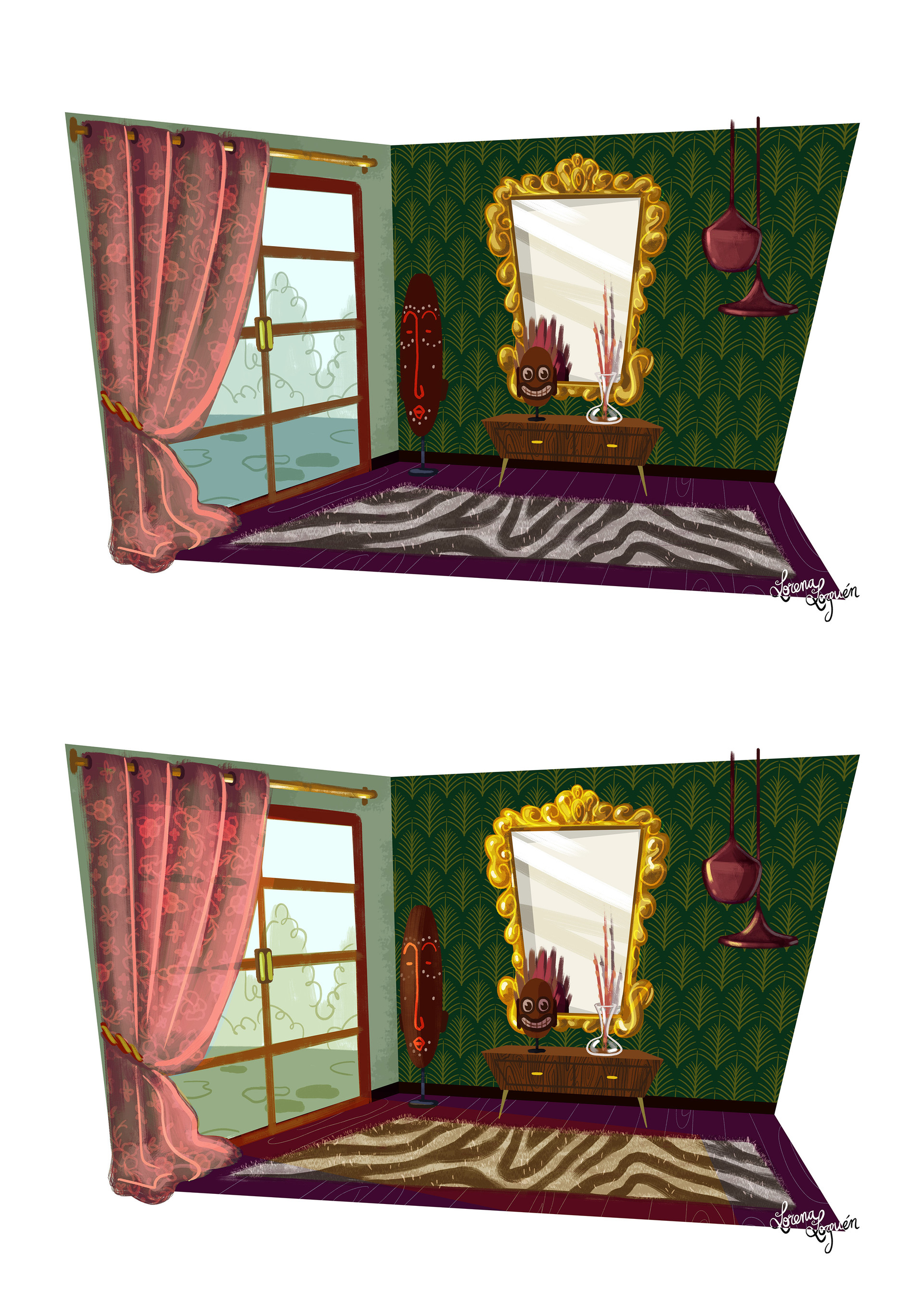 Color values. I changed the color of the curtain to pink so that the main green was on the walls, especially the wallpaper, and for the curtains to merge with the rest of the decoration.